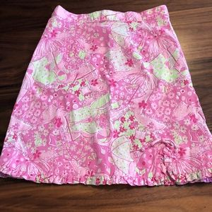 Lilly Pulitzer Girls Skirt Size 10 Pink Green